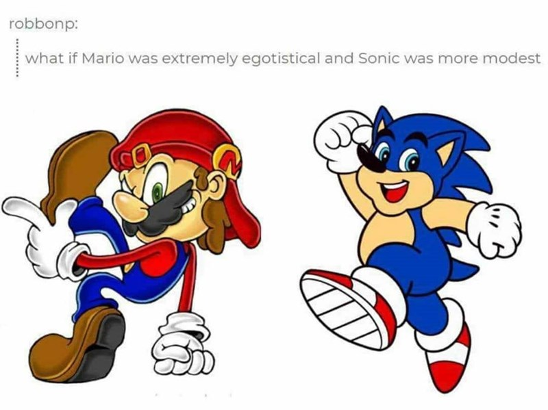 dank - Cartoon - robbonp: what if Mario was extremely egotistical and Sonic was more modest