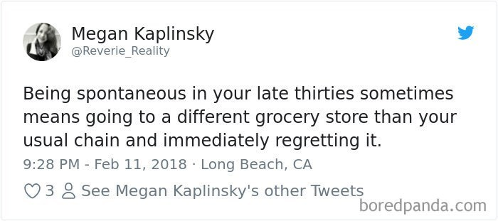 tweet about life having a favorite grocery store as an adult