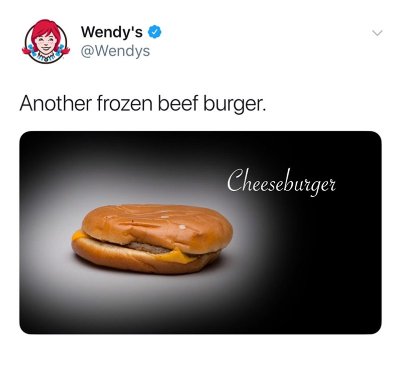 Product - Wendy's @Wendys RESTRIE Another frozen beef burger. Cheeseburger