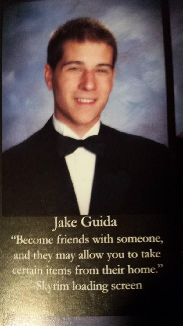 "Suit - Jake Guida ""Become friends with someone, and they may allow you to take certain items from their home."" Skyrim loading screen"