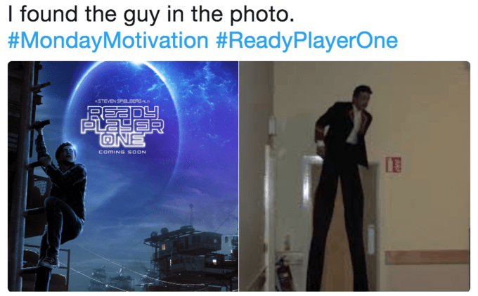 Text - I found the guy in the photo. #MondayMotivation #ReadyPlayerOne STEVEN SPELBERG PLAS ONE COMING SOON
