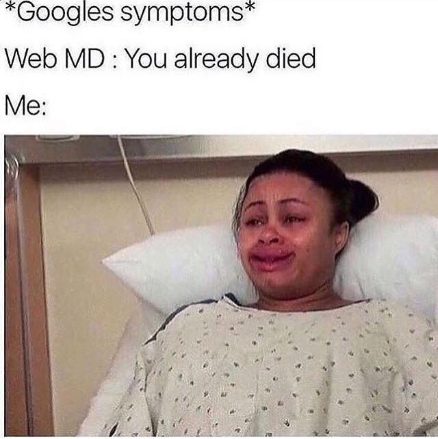 Funny meme about web md.