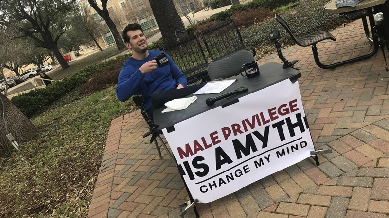 steven crowders sign - Protest - Eownrs MALE PRIVILEGE IS A MYTH CHANGE MY MIND