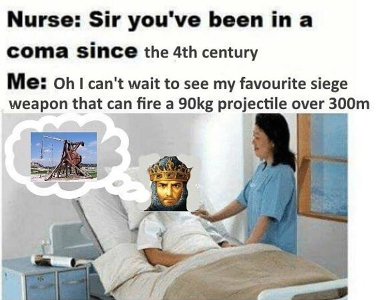 Product - Nurse: Sir you've been in coma since the 4th century Me: OhI can't wait to see my favourite siege weapon that can fire a 90kg projectile over 300m