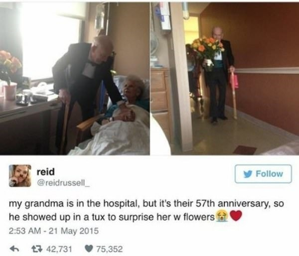 Product - reid @reidrussell Follow my grandma is in the hospital, but it's their 57th anniversary, so he showed up in a tux to surprise her w flowers f 2:53 AM -21 May 2015 t 42,731 75,352