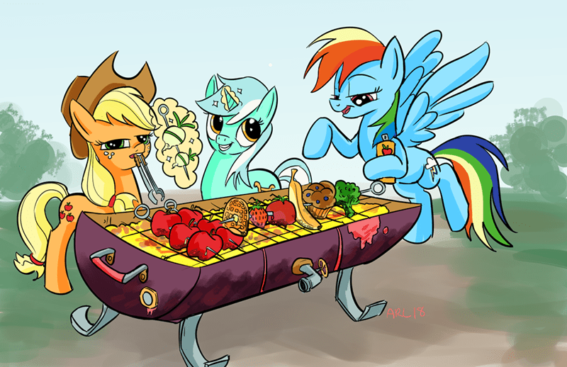 applejack lyra heartstrings lytle the lemur nonstandard kebabs rainbow dash - 9136124672