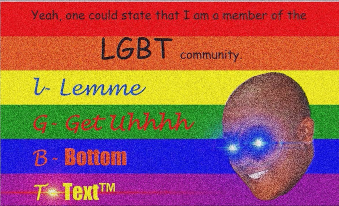 Text - Yeah, one could state that I cm a member of the LGBT community 1- Lemme ecunkh B Bottom T TextTM