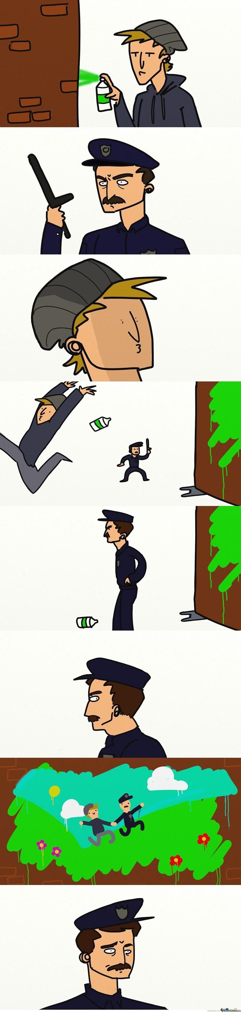 policia persigue a grafitero