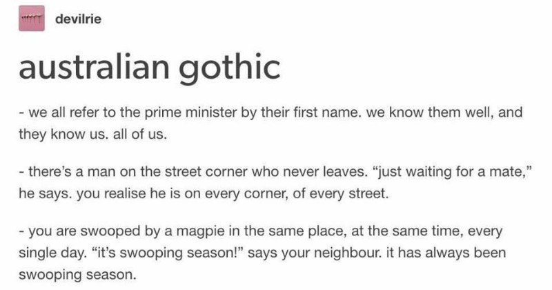 Australians relate to a culturally accurate Tumblr thread on Australian Gothic literature.