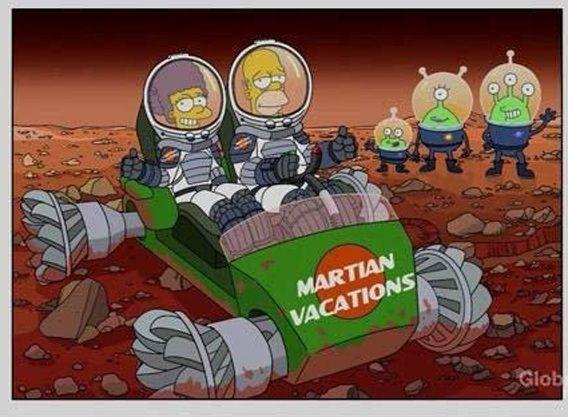Cartoon - MARTIAN VACATIONS Glob