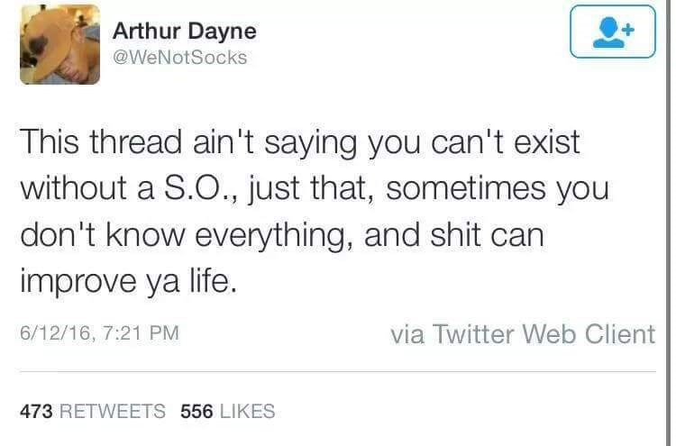 Text - Arthur Dayne @WeNotSocks This thread ain't saying you can't exist without a S.O., just that, sometimes you don't know everything, and shit can improve ya life. via Twitter Web Client 6/12/16, 7:21 PM 473 RETWEETS 556 LIKES