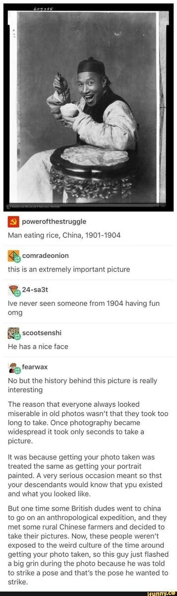 Tumblr meme of someone from 1904 that looks like he is having fun with interesting story behind the picture