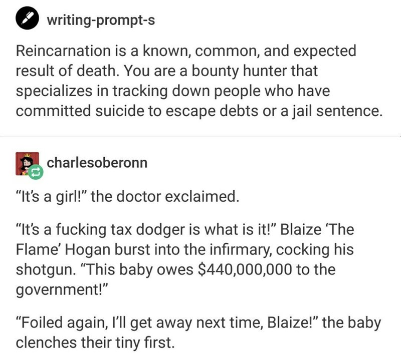 writing prompt tumblr exchange about bounty hunter in search of past life debts