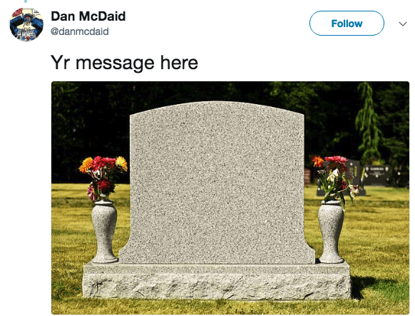 Headstone - Dan McDaid Follow @danmcdaid Yr message here