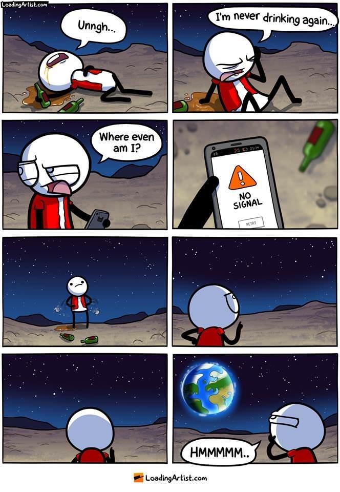 webcomic - Cartoon - LoadingArtist.com I'm never drinking agai... Unngh... Where even am I? D05 NO SIGNAL RETRY НMMМММ. LoadingArtist.com