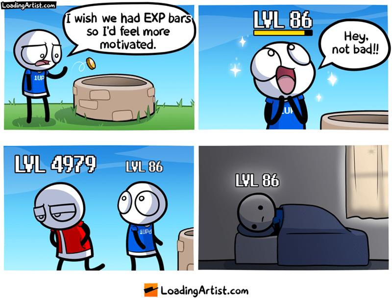 webcomic - Cartoon - LoadingArtist.com LYL 86 I wish we had EXP bars So I'd feel more motivated Hey not bad! 1UP LVL 4979 LUL 86 LYL 86 UPd LoadingArtist.com