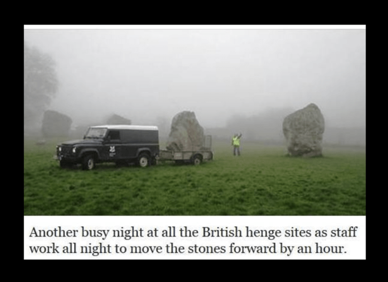 Mode of transport - Another busy night at all the British henge sites as staff work all night to move the stones forward by an hour