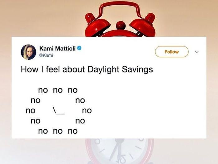 Text - Kami Mattioli Follow @Kami How I feel about Daylight Savings no no no no no no no no no no no no