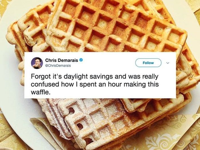 Dish - Chris Demarais Follow echrisDemarais Forgot it's daylight savings and was really confused how spent an hour making this waffle