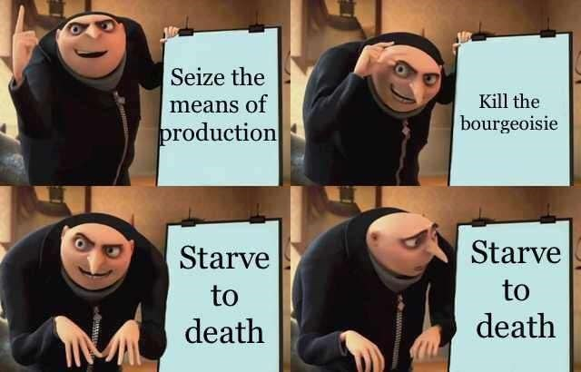 gru meme - Facial expression - Seize the Kill the bourgeoisie means of production Starve Starve to to death death wwww Mww