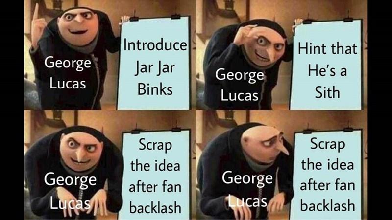 gru meme - Facial expression - Introduce Hint that George Jar Jar He's a George Lucas Binks Sith Lucas Scrap Scrap the idea the idea George George ucas backlash after fan after fan Lucasbacklash