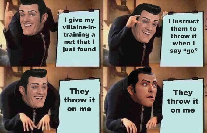 """gru meme - Facial expression - I give my I instruct villains-in- them to training a net that I throw it when I just found say """"go"""" 65Feibe They throw it They throw it on me on me"""