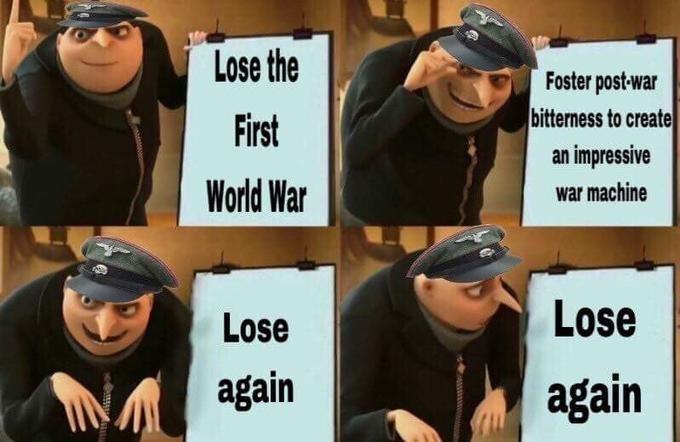 gru meme - Facial expression - Lose the Foster post-war bitterness to create First an impressive World War war machine Lose Lose again again Mwww