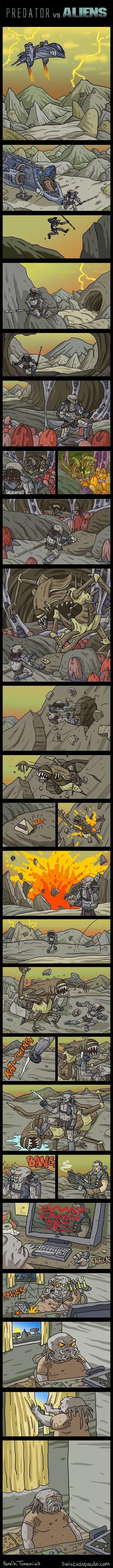 secuencia en vinetas de aliens vs predator con final inesperado