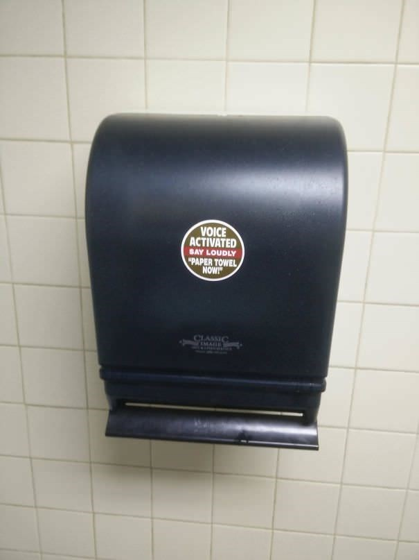 """funny vandalism - Bathroom accessory - VOICE ACTIVATED SAY LOUDLY """"PAPER TOWEL NOW! CLASSIC EMALTE"""