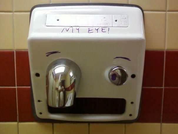 funny vandalism - Hand dryer - ヒイヒ!
