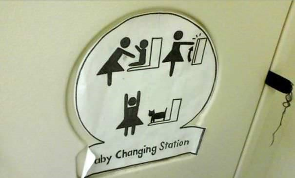 funny vandalism - Sign - aby Changing Station