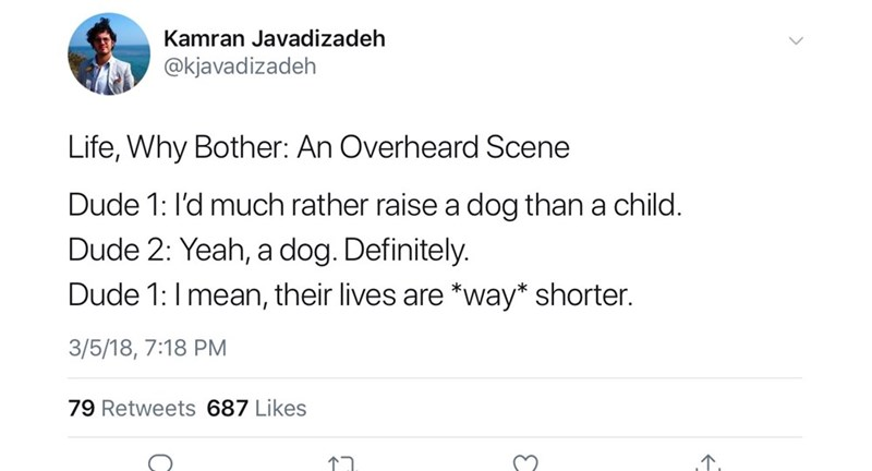 Text - Kamran Javadizadeh @kjavadizadeh Life, Why Bother: An Overheard Scene Dude 1: I'd much rather raise a dog than a child. Dude 2: Yeah, a dog. Definitely. Dude 1: I mean, their lives are way* shorter. 3/5/18, 7:18 PM 79 Retweets 687 Likes