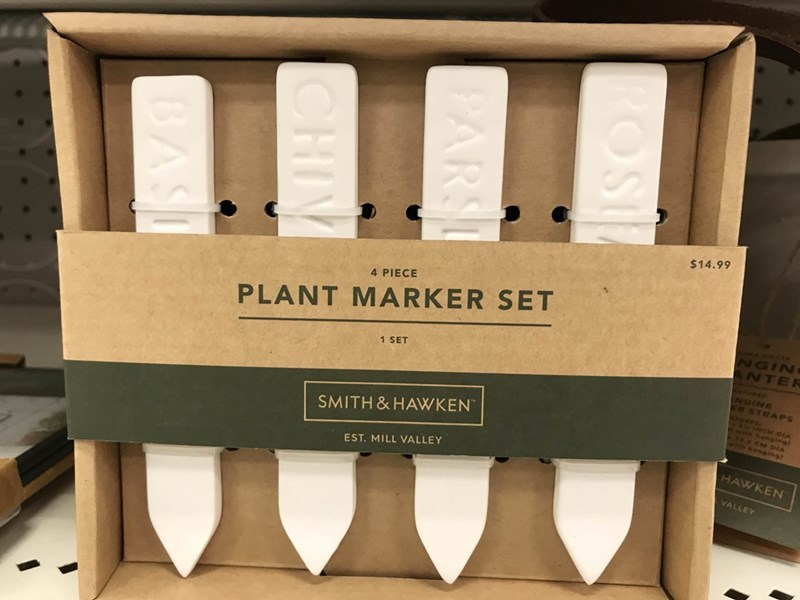 Product - $14.99 4 PIECE PLANT MARKER SET NGIN ANTER 1 SET NUINE STRAPS CH OIA thhenging) henging) SMITH & HAWKEN HAWKEN EST. MILL VALLEY VALLEY ROSt PARS CHI BAS