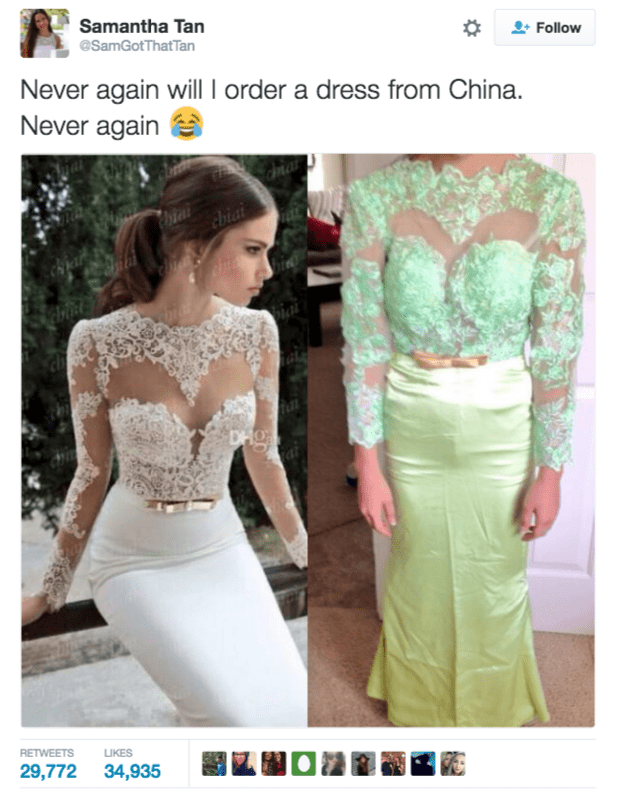 Clothing - Samantha Tan Follow @SamGotThat Tan Never again will I order a dress from China. Never again Chiai ch DHg RETWEETS LIKES 29,772 34,935