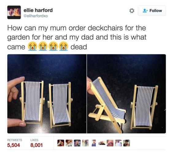Product - ellie harford Follow ellharfordxo How can my mum order deckchairs for the garden for her and my dad and this is what dead came RETWEETS LIKES 5,504 8,001