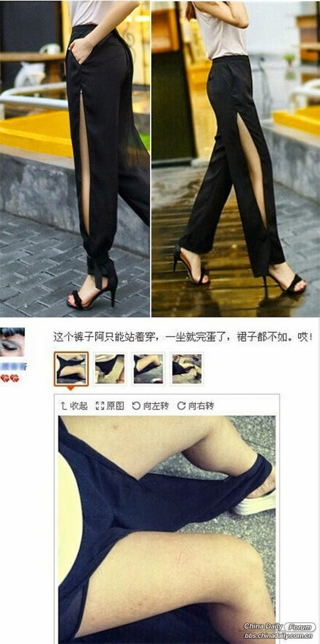 Leg - 这个裤子阿只能站着穿,一坐就完蛋了,裙子都不如。! 向左转C向右转 原图 t收起 China Daily Forum