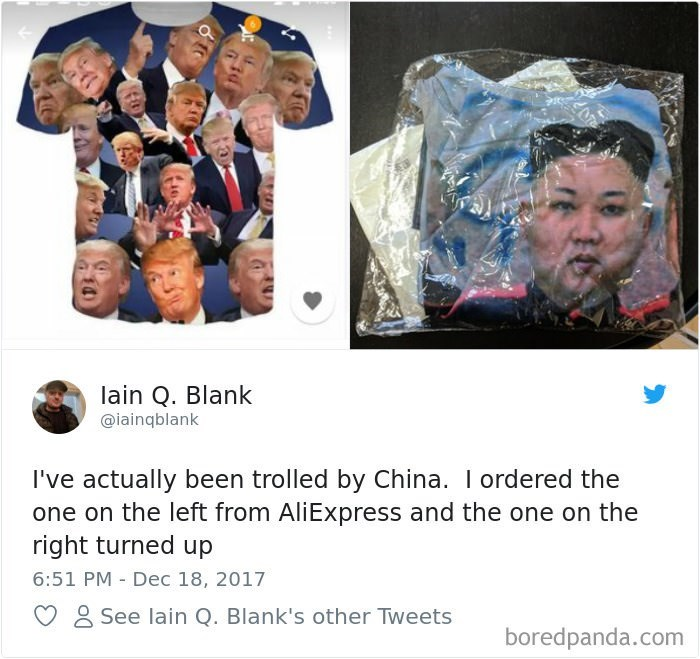 Photography - lain Q. Blank @iainqblank I've actually been trolled by China. I ordered the one on the left from AliExpress and the one on the right turned up 6:51 PM Dec 18, 2017 See lain Q. Blank's other Tweets boredpanda.com