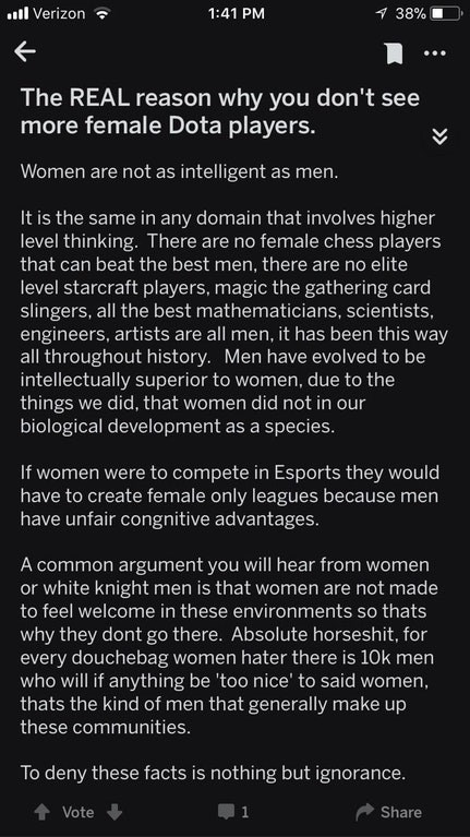 Text - l Verizon 1 38% 1:41 PM The REAL reason why you don't see more female Dota players. Women are not as intelligent as men. It is the same in any domain that involves higher level thinking. There are no female chess players that can beat the best men, there are no elite level starcraft players, magic the gathering card slingers, all the best mathematicians, scientists, engineers, artists are all men, it has been this way all throughout history. Men have evolved to be intellectually superior