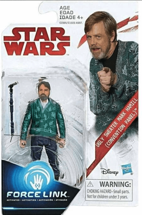 Movie - AGE EDAD IDADE 4+ Cis05/C1503 ASST. STAR WARS A WARNING: CHOKING HAZARD-Small parts Not for children under 3 years FORCE LINK ACTIVATION I AGTIVAGION I ATIVACAO ACTIVATED UGLY SWEATER MARK HAMILL (CONVENTION PANEL)