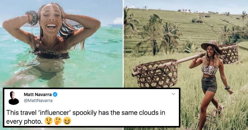 Travel influencer admits to editing her photos with the same clouds app.