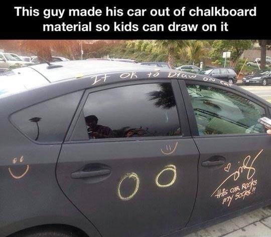 Vehicle - This guy made his car out of chalkboard material so kids can draw on it 4s CAR ROCKS