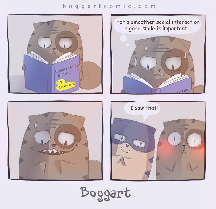 Head - boggar tcomic.co m For a smoother social interaction a good smile is important... /SOCIALIZATION BASICS For Dummies ATION I saw that! Boggart