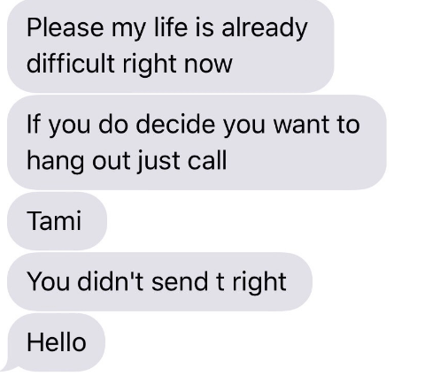 Text - Please my life is already difficult right now If you do decide you want to hang out just call Tami You didn't send t right Hello