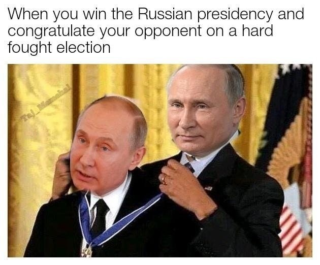 Funny meme about Putin elextion.