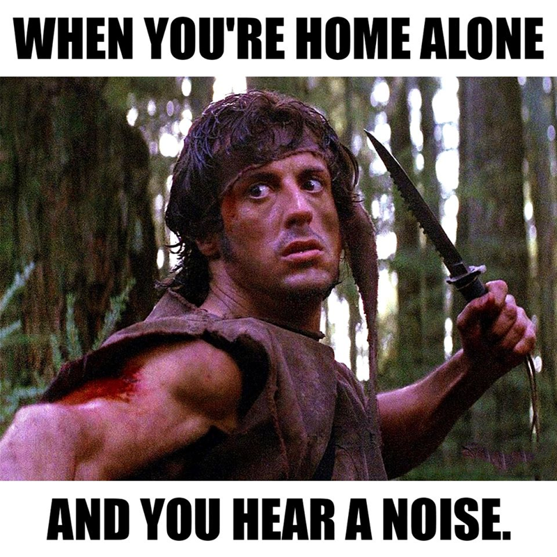 Funny meme about hearing a noise at night.