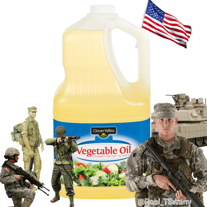america invading for oil - Soldier - CloverValley. Vegetable Oil A Cholesterol Pree Food 1 0g Trans-Fo ME 13 788 @Real TSwany