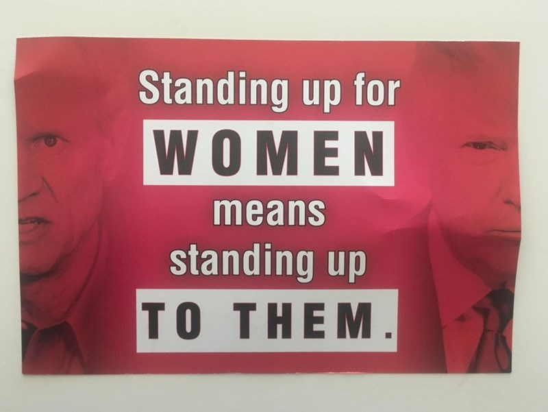 Text - Standing up for WOMEN means standing up TO THEM