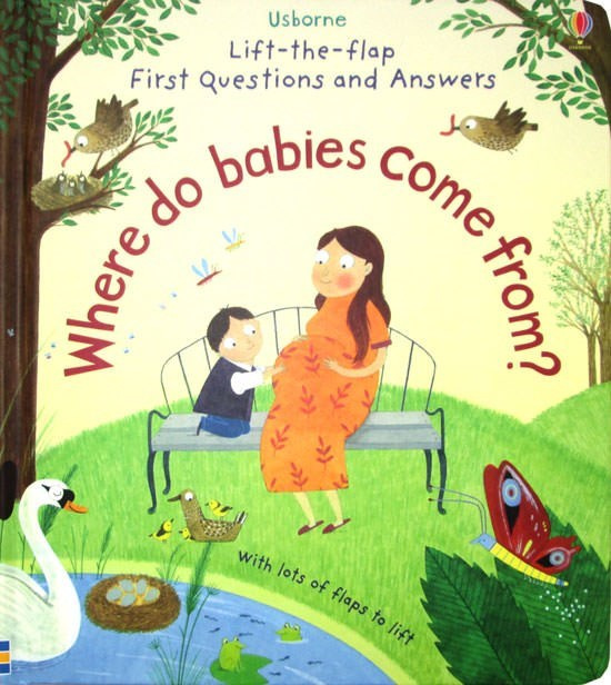 Cartoon - Usborne Lift-the-flap First Questions and Answers ere do babies Come fro with lots of flaps to lift
