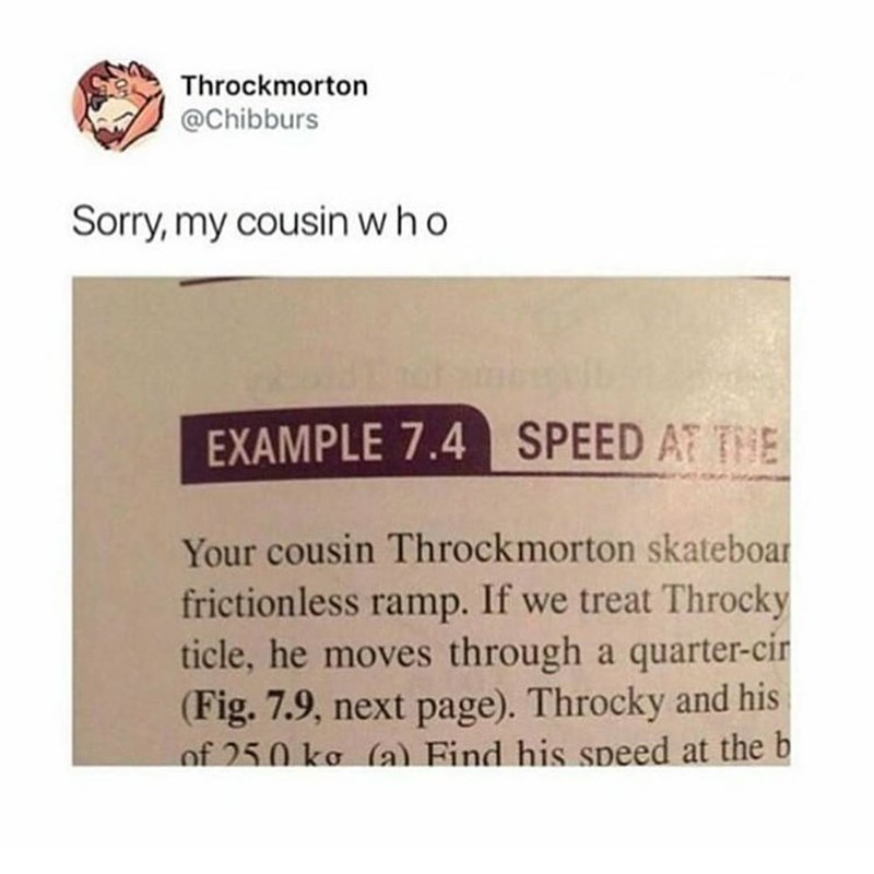 Funny meme about school textbook tht uses the name throckmorton.