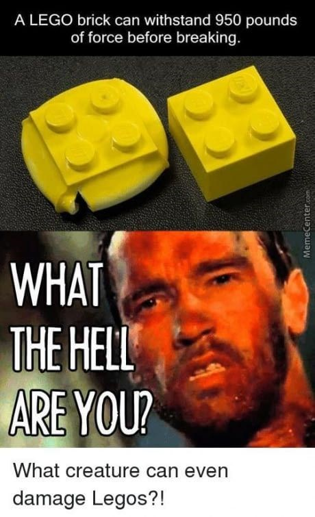 Yellow - A LEGO brick can withstand 950 pounds of force before breaking. WHAT THE HELL ARE YOU? What creature can even damage Legos?! MemeCenter.com
